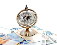 Global model clock with banknotes 1 Royalty Free Stock Photo