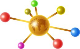 Global molecule. A colourful molecule with a golden globe of the world at the centre isolated on white Stock Photo