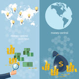 Global monetary system banking money transfer world map. Transactions online payments banking business finance startup vector banners Stock Images
