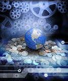 Global Money Business Economy Globalisation. A conceptual image depicting the global economy with money cogs and the internet Royalty Free Stock Photography