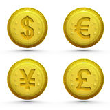 Global money golden coins isolated on white Royalty Free Stock Images
