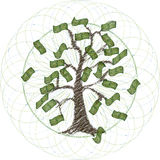 Global money tree Stock Photo