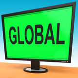 Global Monitor Shows Worldwide Continental Globalization Connect Stock Images