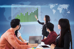 Global möte och presentation för affär Arkivbilder