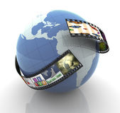 Global multimedia production. 3d render of film strip with images around globe Stock Photo
