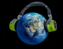 Global music. 3d ilustration of the planet earth listening to music. NASA image used vector illustration