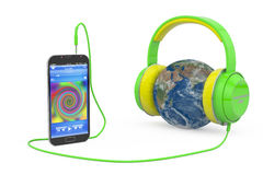 Global Music Headphones Earth Stock Image