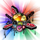 Global Musical Event Background. Colorful Flyer for International Disco Music Event Stock Image