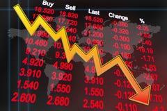 global nedgång för ekonomi Arkivbilder