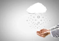 Global net. Close up of businessman hand holding cloud with social net concept Stock Photography