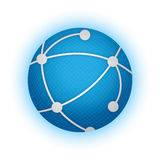 Global Network. Bright blue globe with network connections and burst effect in background vector illustration