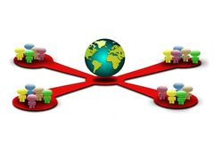 Global network. Image of global network with four connection Royalty Free Stock Image