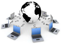Global network. Data transfer between earth and computers Royalty Free Stock Image