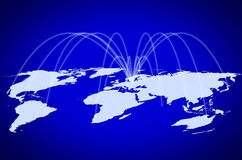 Global Network. The blue map of the world , concept picture Global telecommunications  network or air travelling Stock Images