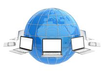 Global network. 3D illustration of laptops flying around the World. Global communication concept Stock Image