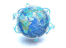 Global Network. A 3D render of the earth showing crossing network communication lines around the globe Stock Photos