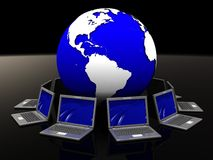 Global network. 3d illustration of laptops network around the earth Stock Photos