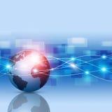 Global Network Blue Business Background. Abstract technology world global network business connection blue background stock illustration