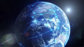 Global Network - Blue. This high quality Full HD clip shows planet Earth from space as lines of travel, communication and commerce cross the globe to create a