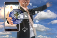 Global network in  businessman hand with Cloud Technology. Global network in businessman hand with Cloud Technology. Power of Technology Concept. Elements of Stock Image