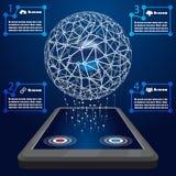 Global network Cloud Technology Communications vector illustration