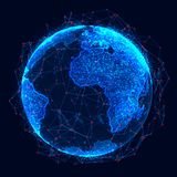 Global network concept. World map point. Global network planet Earth. 3D rendering royalty free illustration