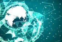 Global network connection technology background. Global network connection background. Blue and cyan technology backdrop. Telecommunication broadcast concept Stock Photography