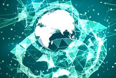 Global network connection background. Blue and cyan technology backdrop. Telecommunication broadcast concept. Glowing plexus structure with Earth planet and Stock Photos