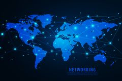 Global network connection background, blue world map, vector stock illustration