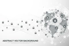 Global network connection background. Cyber security concept global business. Internet communication background vector illustration