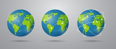 Global network connection cartoon style. Vector Illustration EPS10 royalty free illustration