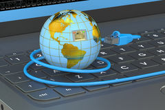 Global network connection concept on laptop. 3D rendering Stock Images