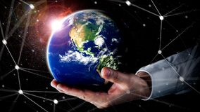 Free Global Network Connection Covering Earth With Link Of Innovative Perception Royalty Free Stock Photo - 215481215