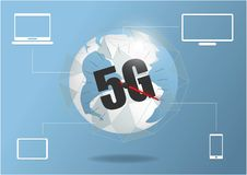 Global network connection 5G internet high speed rate. World point line worldwide information technology data exchange business. vector illustration