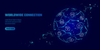 Global network connection 5G internet high speed rate. World point line worldwide information technology data exchange. Business. Planet art blue space low poly Royalty Free Stock Image