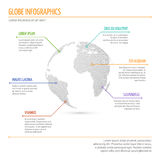Global network connection, international meaning vector infographics with 3d dotted world globe Stock Photos