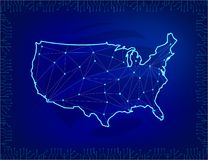 Global network connection. Map of America in polygonal style and line composition concept of global business. Elements of an int vector illustration