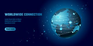 Global network connection. World map Asia continent point line worldwide information technology dat exchange business. Planet Earth space low poly polygonal royalty free illustration