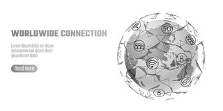Global network connection. World map Asia continent point line worldwide information technology dat exchange business. Planet Earth space low poly polygonal vector illustration