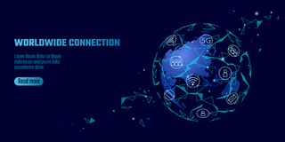 Global network connection. World map Asia continent point line worldwide information technology dat exchange business. Planet Earth space low poly polygonal stock illustration