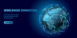 Global network connection. World map Europe Africa continent point line worldwide information technology dat exchange. Business. Planet Earth space low poly vector illustration