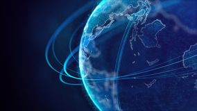 Global network connection. World map point. Representing the global. Network connection. 3D rendering stock illustration