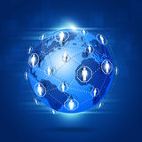 Global Network Connections. Abstract technology world global network business connection blue background Royalty Free Stock Photo