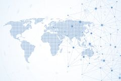 Global network connections with dotted world map. Internet connection background. Abstract connection structure. Polygonal space background. Vector stock illustration