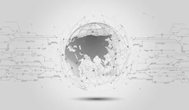 Global network connections icon points and lines with social con. Nection and networking concept of global business Stock Image