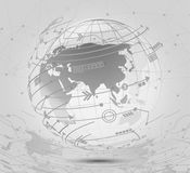 Global network connections icon points and lines with social con. Nection and networking background illustration  concept Royalty Free Stock Images