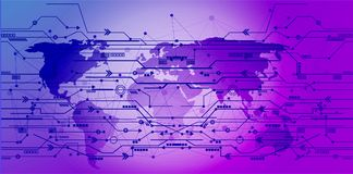 Global network connections icon points and lines with social con. Nection and networking background illustration  concept Royalty Free Stock Photography
