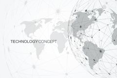 Global network connections with world map. Internet connection background. Abstract connection structure. Polygonal. Space background. Vector illustration Royalty Free Stock Image
