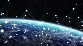 Global network and datas exchanges over the planet Earth 3D rend Stock Photo