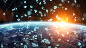 Global network and datas exchanges over the planet Earth 3D rend Royalty Free Stock Images